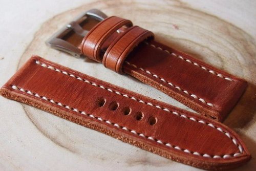 Tailor-made Handmade leather real cow brown red leather white sutures watch strap watch band 20 22 24 26 custom made panerai watch strap panerai iwatch apple watch applewatch rolex iwc top gun pilot timex cartier garmin dw Daniel Wellington omega