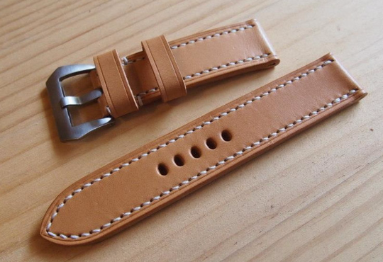 Tailor-made Handmade leather real cow vegetable tanned leather white sutures watch strap watch band 20 22 24 26 custom made panerai iwatch apple watch applewatch rolex iwc top gun pilot timex cartier garmin dw Daniel Wellington omega