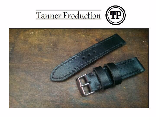 Tailor-made Handmade real cow black leather black sutures watch strap watch band 20 22 24 26 custom made ws0112 panerai iwatch apple rolex iwc garmin dw