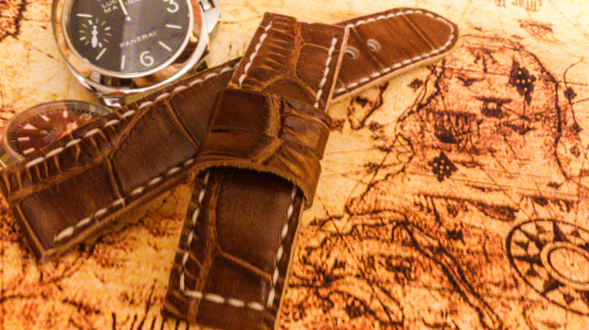 Tailor-made Handmade real cow brown Crocodile embossed leather white sutures watch strap watch band 20 22 24 26 custom made ws004 panerai iwatch apple rolex iwc garmin dw
