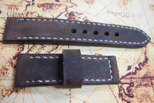 Tailor-made Handmade real cow dark brown leather white sutures watch strap watch band 20 22 24 26 custom made ws010 panerai iwatch apple rolex iwc garmin dw