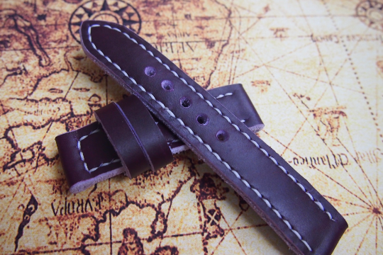 Tailor-made Handmade real cow dark purple leather white sutures watch strap watch band 20 22 24 26 custom made ws007 panerai iwatch apple watch applewatch rolex iwc top gun pilot timex cartier garmin dw Daniel Wellington omega sevenfriday