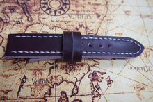 Tailor-made Handmade leather real cow brown red leather white sutures watch strap watch band 20 22 24 26 custom made panerai