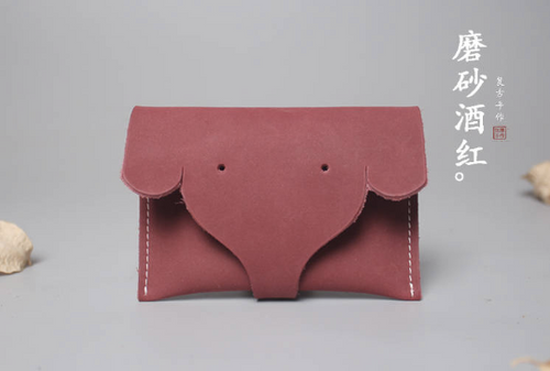 Tailor Handmade Crazy horse skin Real Cow Leather Pouch card package Wallet Triangle Carved Japanese Coin Case Purse Red Bag Card pac