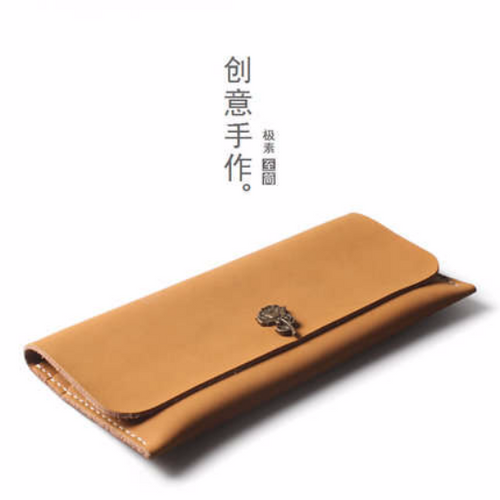 Tailor Handmade Crazy horse skin Real Cow Leather Retro HandBag Long Wallet Hand Japanese korean Brown Color Girl Women Bag pouch envelope