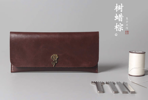 Tailor Handmade Crazy horse skin Real Cow Leather Retro HandBag Long Wallet Hand Japanese korean Dark Brown Girl Women Bag pouch envelope