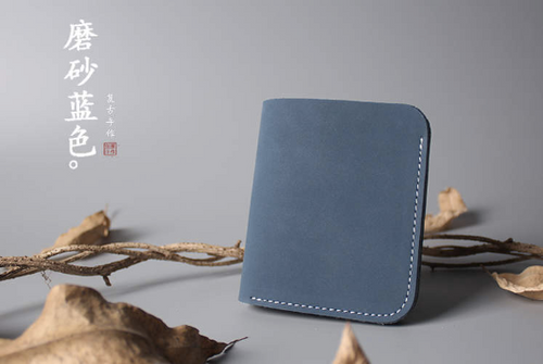 Tailor Handmade Crazy horse skin Real Cow Leather Retro HandBag Long Wallet Hand Japanese korean Grey Blue Girl Women Bag pouch envelope