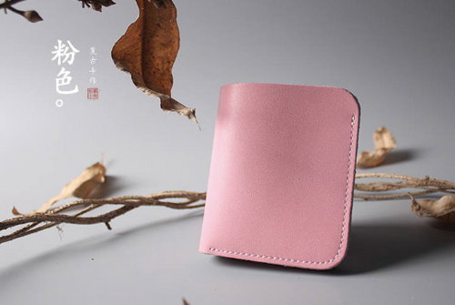Tailor Handmade Crazy horse skin Real Cow Leather Retro HandBag Long Wallet Hand Japanese korean Pink color Girl Women Bag pouch envelope