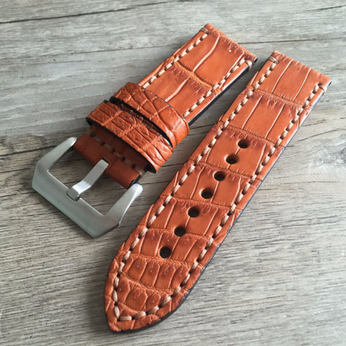 Tailor Handmade Real Alligator Leather Wood Brown Khail watch band Strap Pam seiko Timex Rolex Panerai DW 22 20 24 26 mm custom Steel Clasp