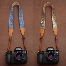 Tailor Handmade Real Blue Denim Cow Leather Cotton Leopard pattern Camera strap slr dslr buckles Leica Nikon Sony Olympus Canon fujifilm Bag