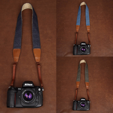 Tailor Handmade Real Blue Denim Cow Leather Cotton pattern Retro Camera strap slr dslr buckles Leica Nikon Sony Olympus Canon fujifilm Bag