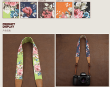 Tailor Handmade Real Blue Denim Cow Leather Cotton pattern flower Camera strap slr dslr buckles Leica Nikon Sony Olympus Canon fujifilm Bag