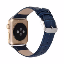 Tailor Handmade Real Cow Crazy Horse Bamboo pattern Leather navy blue Smart Apple iwatch 38 42 mm i watch band Strap Steel Clasp