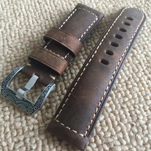 Tailor Handmade Real Cow Crazy Horse Leather Retro brown watch band Strap Pam111 seiko Timex Rolex Panerai DW 24 26 mm custom Carve Clasp