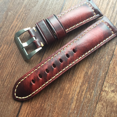 Tailor Handmade Real Cow Crazy Horse Leather Wine Red Oil wax watch band Strap Pam111 IWC Timex Rolex Hamilton Panerai DW 24 mm custom Clasp
