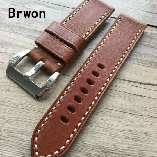 Tailor Handmade Real Cow Crazy Horse Leather khaki brown watch band Strap Pam111 seiko Timex Rolex Panerai DW 22 20 24 26 mm custom Clasp