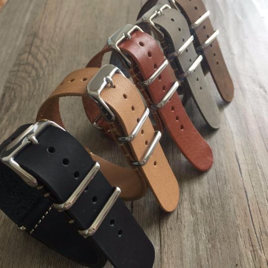Tailor Handmade Real Cow Crazy Horse Leather oil Nato brown watch band Strap Pam111 IWC Timex Rolex Hamilton Panerai DW 22 24 20 mm Clasp