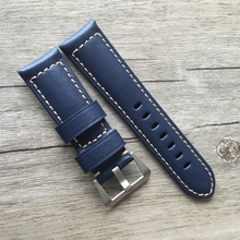 Tailor Handmade Real Cow Crazy Horse Leather wax blue retro watch band Strap Pam688 IWC Timex Rolex Hamilton Panerai DW 24 mm steel Clasp