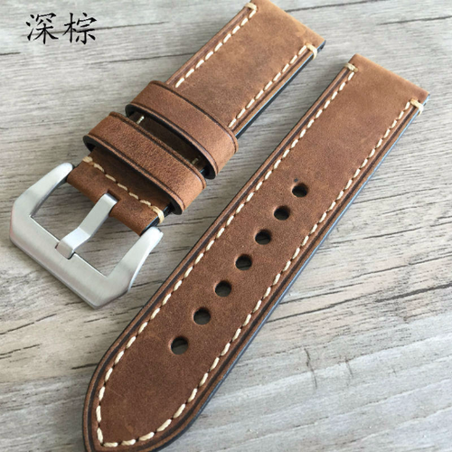 Tailor Handmade Real Cow Crazy Horse Leather yellow brown watch band Strap Pam111 seiko Timex Rolex Panerai DW 22 20 24 26 mm custom Clasp