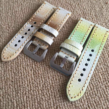 Tailor Handmade Real Cow Crocodile pattern Leather oil yellow green watch band Strap Pam111 IWC Timex Rolex Panerai DW 24 20 mm Clasp
