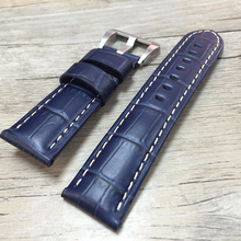 Tailor Handmade Real Cow Crocodile pattern Leather oil wax Blue watch band Strap Pam111 IWC Timex Rolex Panerai DW 22 24 26 mm Clasp