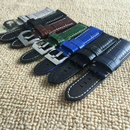 Tailor Handmade Real Cow Crocodile pattern Leather oil wax Green gray blue watch band Strap Pam111 IWC Timex Rolex Panerai DW 22 24 26 mm Clasp