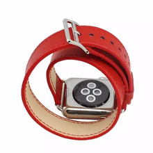 Tailor Handmade Real Cow Horse Scrub Leather Retro Blood Red Hermes Style Smart Apple iwatch 38 42 mm watch band Strap Steel Clasp Custome