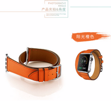 Tailor Handmade Real Cow Horse Scrub Leather Retro Orange Navy Red Hermes Style Smart Apple iwatch 38 42 mm watch band Strap Steel Clasp