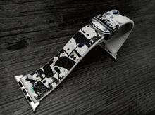 Tailor Handmade Real Cow Japan chinese style Ink pattern oil painting Leather white Black Apple iwatch 38 42 mm i watch band Steel Clasp