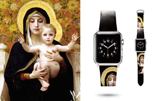 Tailor Handmade Real Cow Japan style God Our Lady Son Jesus pattern oil painting Leather iwatch 38 42 mm i apple watch band Steel Clasp