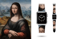 Tailor Handmade Real Cow Japan style Mona Lisa's smile pattern oil painting Leather iwatch 38 42 mm i apple watch band Steel Clasp smart