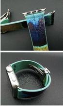 Tailor Handmade Real Cow Japan style Peacock pattern oil painting Leather blue green iwatch 38 42 mm i watch band Steel Clasp apple smart