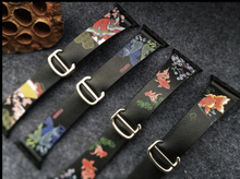 Tailor Handmade Real Cow Leather Japanese style flamingo oil painting Leather White Gold Smart Apple iwatch 38 42 mm i watch band Strap Steel Clasp