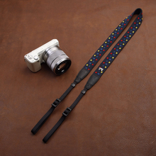 Tailor Handmade Real Cow Leathe Rainbow Color dot cotton pattern Camera strap slr dslr buckles Leica Nikon Sony Olympus Canon fujifilm Bag