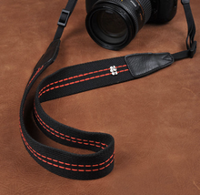Tailor Handmade Real Cow Leather Black Orange cotton red pattern Camera strap slr dslr buckles Leica Nikon Sony Olympus Canon fujifilm Bag