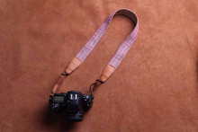 Tailor Handmade Real Cow Leather Burberry Grid lattice cotton red pattern Camera strap slr dslr buckles Leica Nikon Sony Olympus Canon fujifilm Bag