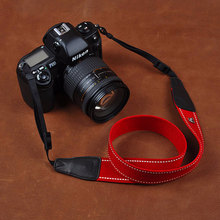 Tailor Handmade Real Cow Leather NYLON color cotton red pattern Camera strap slr dslr buckles Leica Nikon Sony Olympus Canon fujifilm Ba