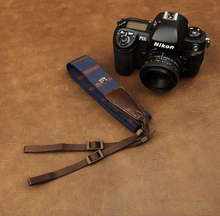 Tailor Handmade Real Cow Leather Navy Blue Orange cotton pattern Camera strap slr dslr buckles Leica Nikon Sony Olympus Canon fujifilm Bag