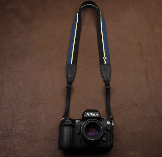 Tailor Handmade Real Cow Leather Navy Blue Yellow cotton pattern Camera strap slr dslr buckles Leica Nikon Sony Olympus Canon fujifilm Bag Navy Blue Yellow