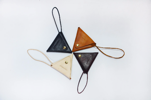 Tailor Handmade Real Cow Leather Pouch card package Wallet Triangle Carve Japanese Coin Case Purse red brown Bag Card pack Vegetable tanning