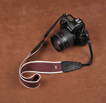 Tailor Handmade Real Cow Leather White red cotton pattern Camera strap slr dslr buckles Leica Nikon Sony Olympus Canon fujifilm Bag