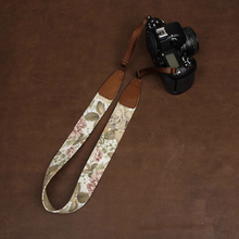Tailor Handmade Real Cow Leather khaki flower cotton red pattern Camera strap slr dslr buckles Leica Nikon Sony Olympus Canon fujifilm Bag