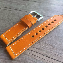 Tailor Handmade Real Cow Leather wax orange brown retro watch band Strap Pam688 IWC Timex Rolex Hamilton Panerai DW 20 22 23 24 mm Clasp