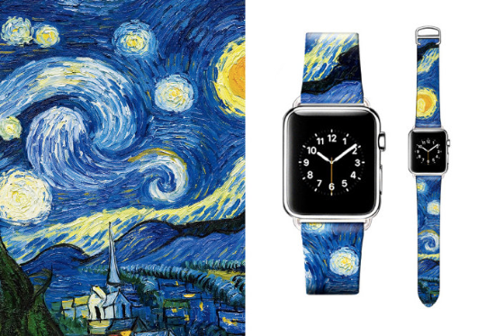 Tailor Handmade Real Cow Van Gogh Starry night oil painting Leather White Gold Smart Apple iwatch 38 42 mm i watch band Strap Steel Clasp