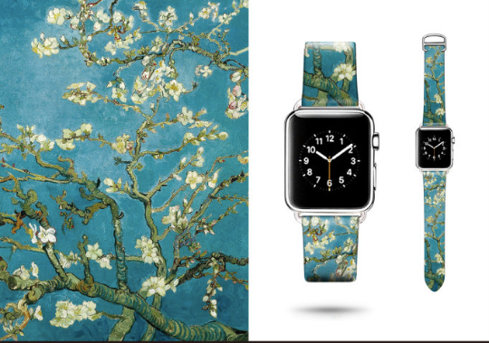 Tailor Handmade Real Cow Van Gogh Green Blue Flower oil painting Leather White Gold Smart Apple iwatch 38 42 mm i watch band Strap Steel Clasp