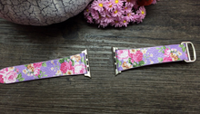 Tailor Handmade Real Cow oil painting Leather cute Flower animal pink purple Smart Apple iwatch 38 42 mm i watch band Strap Steel Clasp