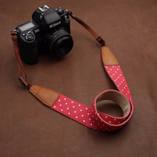Tailor Handmade Real Denim Cow Leather Cotton pattern colorful dot Camera strap slr dslr buckles Leica Nikon Sony Olympus Canon fujifilm Bag