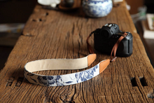 Tailor Handmade Real Denim Cow Leather pattern Blue white porcelain Camera strap slr dslr buckles Leica Nikon Sony Olympus Canon fujifilm
