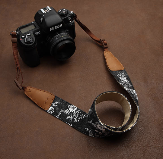 Tailor Handmade Real Denim Leather Cotton black white flower pattern Camera strap slr dslr buckles Leica Nikon Sony Olympus Canon fujifilm