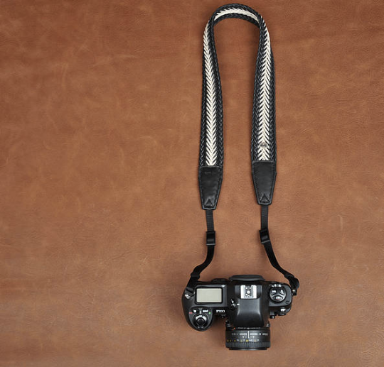 Tailor Handmade Real White Black Cow Leather Woven Cotton pattern Camera strap slr dslr buckles Leica Nikon Sony Olympus Canon fujifilm Bag